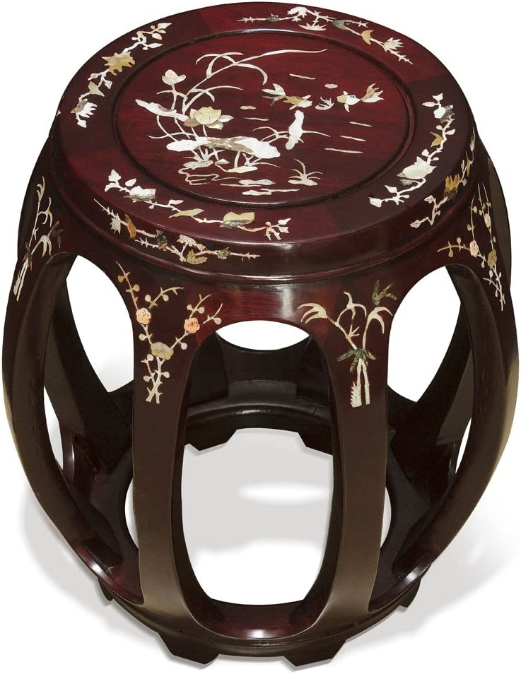 ChinaFurnitureOnline Hand Crafted Butterfly and Floral Design Rosewood Pearl Inlay Motif Chinese Stool – Dark Cherry, 18 H