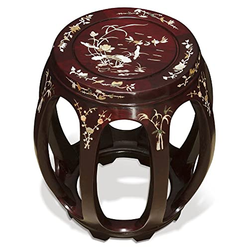ChinaFurnitureOnline Hand Crafted Butterfly and Floral Design Rosewood Pearl Inlay Motif Chinese Stool