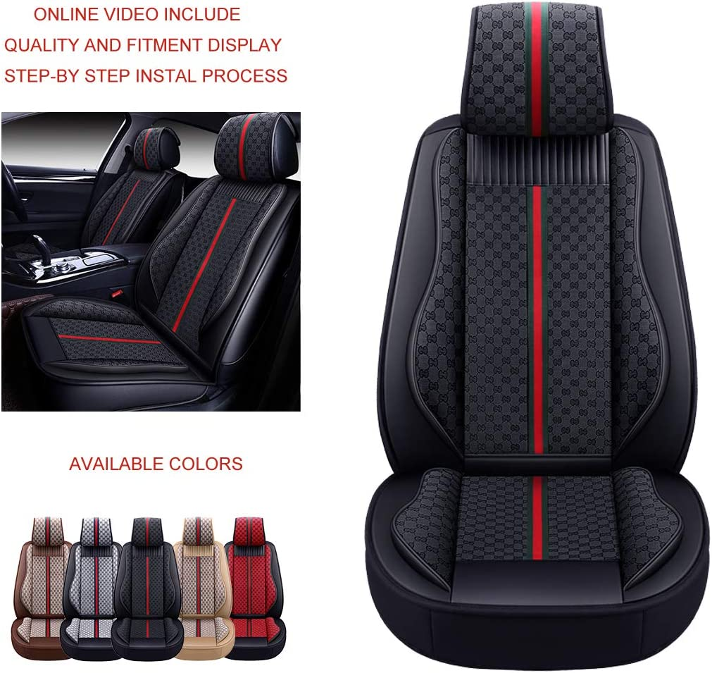SUV and Small Pick-Up Truck Compatible with Toyota-Nissan-Honda-Jeep-Subaru Full Set, Style 1: Black OASIS AUTO OS-007 Leather/&Cloth Universal Car Seat Covers Automotive Vehicle Cushion for Sedan