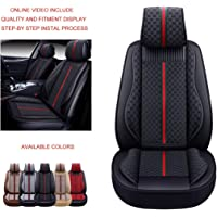 OASIS AUTO OS-007 Leather Car Seat Covers, Faux Leatherette Automotive Vehicle Cushion Cover for Cars SUV Pick-up Truck Universal Fit Set for Auto Interior Accessories (Front Only, Black)