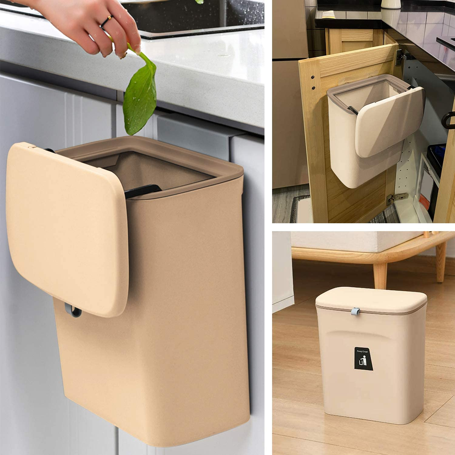 Dailylife 2 4 Gal Hanging Trash Can For Kitchen Cabinet Door With Lid Wall Mounted Counter Waste Compost Bin White Small Under Sink Garbage Can For Bathroom Plastic Kitchen Trash Cans Waste