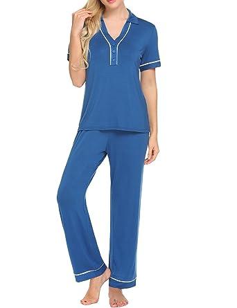 Ekouaer Womens Short Sleeve Cotton V-Neck Pajamas Set (Cobalt Blue ...