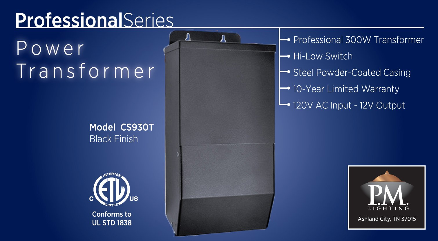 CS300T 300 watt Transformer with High-Low Switch by PM Lighting