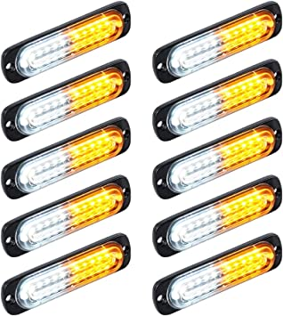 10X Amber 12LED Car Truck Emergency Beacon Warning Hazard Flash Strobe Light Bar
