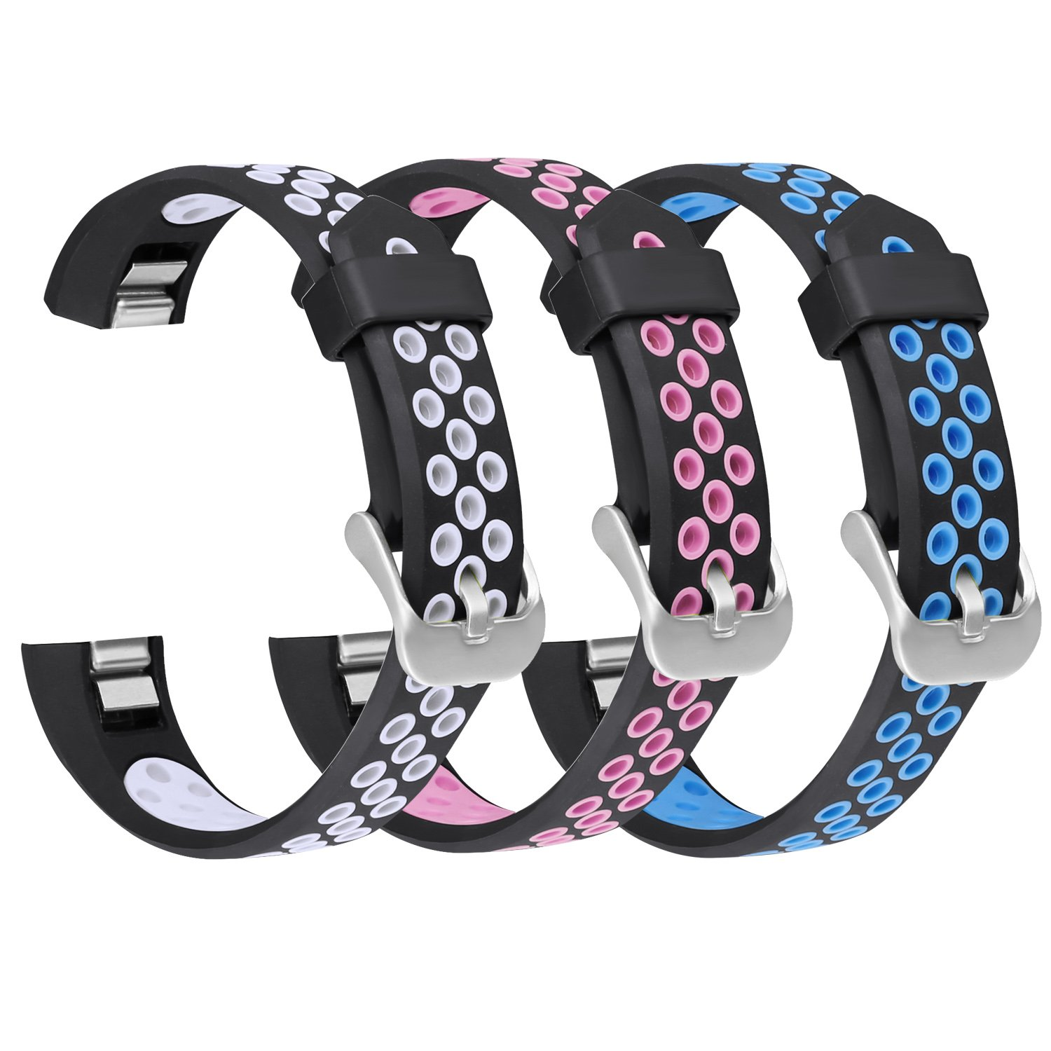 For Fitbit ALTAアルタHR/帯、Skyletシリコン通気性Wristbands for Fitbit ALTAとFitbit ALTA HRブレスレット(トラッカーなし) B078M561GC 3PC: Black-White&Black-Pink&Black-Blue Large
