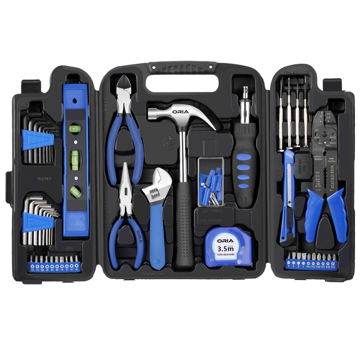 ORIA Household Tool Kit, 129 Pieces Home Repair Tool Kit, Household Hand Tool Kit with Tool Box Storage Case, for iPad/iPhone/PC/Watch/Samsung/Tablet Computer/Other Electronic Devices