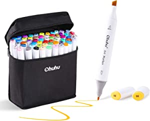 80 Colors Alcohol Markers, Ohuhu Double Tipped Markers Permanent Art Marker Set for Kids, Sketch Markers, Comes with 1 Colorless Blender for Drawing Adults' Coloring Book