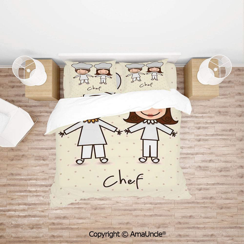 SCOCICI Chef Hat and Uniform Kitchware Vintage Style Design Home and Cafe Polkadots Kids 4pc Bedding Sets,1Duvet Cover,1Flat/Fitted Sheet,2 Pillowcase(no Comforter Inside)