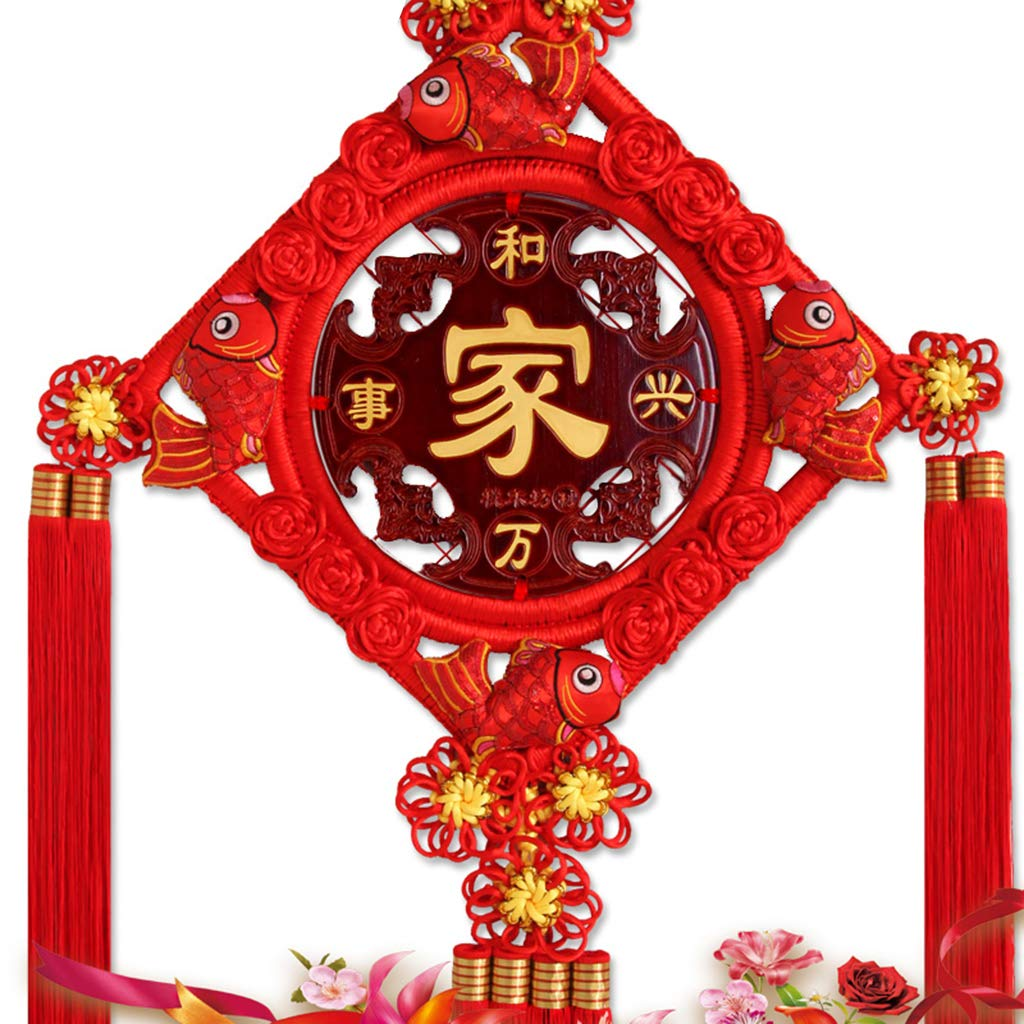 CFJKN Chinese New Year Decoration Fu, Spring Festival Chinese Knot Traditional Ornamental Handcraft Knitted Hanging Feng Shui Wedding Home Car Style,red_125x58cm
