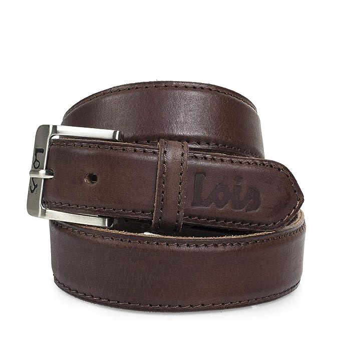 Lois - Cinturón para Hombre Cuero Piel Genuina con Hebilla ...
