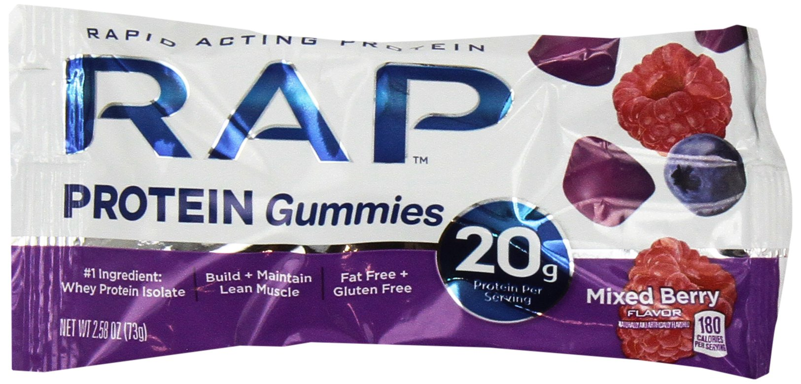 RAP Protein Gummies Mixed Berry 2.58 Ounce (Pack of 12)