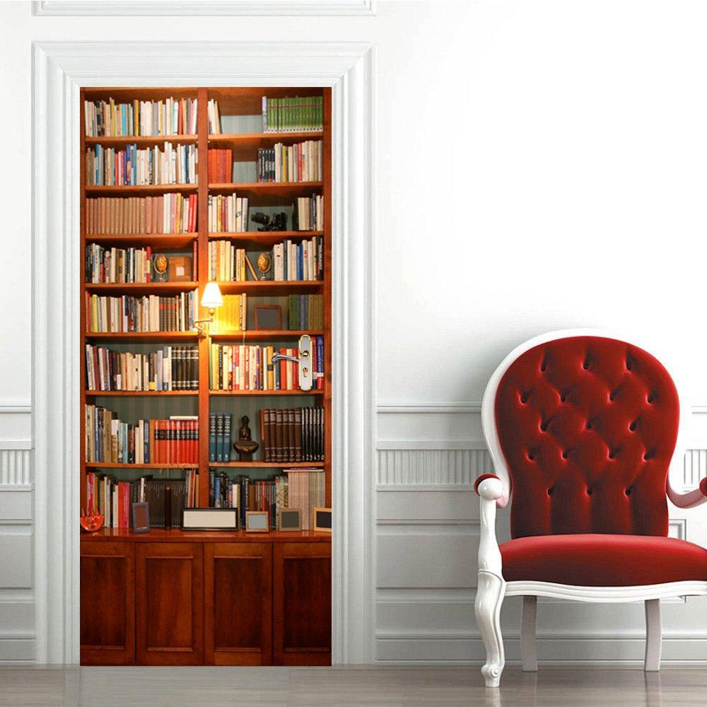 3D Door Wallpaper Sticker, WCIC 3D Retro Book Shelf Mural Wall Sticker PVC Decals Home Decor Kids Room 30.31''x78.74''