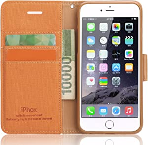 Souldio iPhone 5s Case, iPhone 5 Case, iPhone 5s/5 Wallet Case,Prequim Quality PU Leather Flip Cover Wallet Protective Case for iPhone 5s/5 with Card Holder and Fodable Kickstand(Orange)
