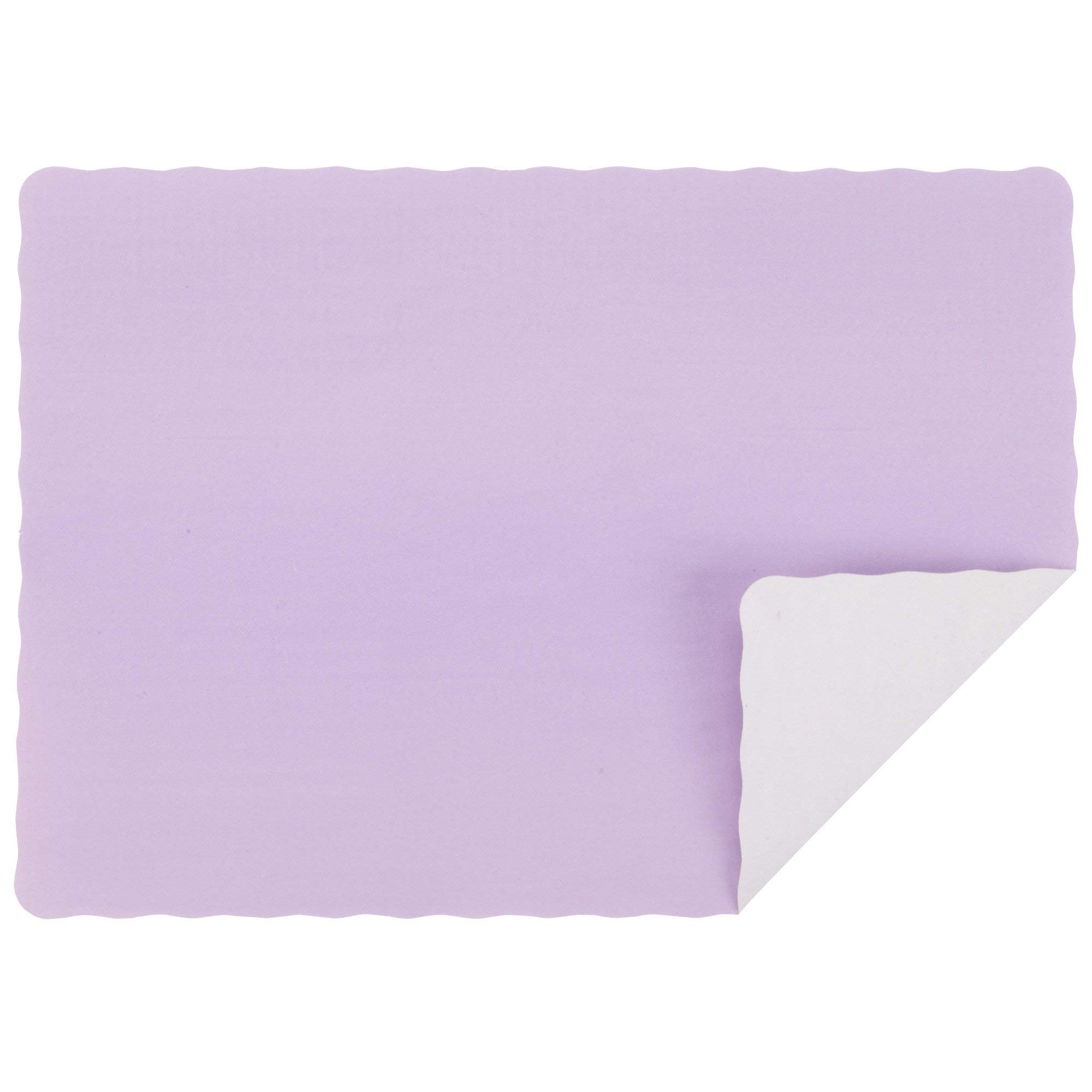 10'' x 14'' Lavender Colored Paper Placemat with Scalloped Edge - 1000/Case