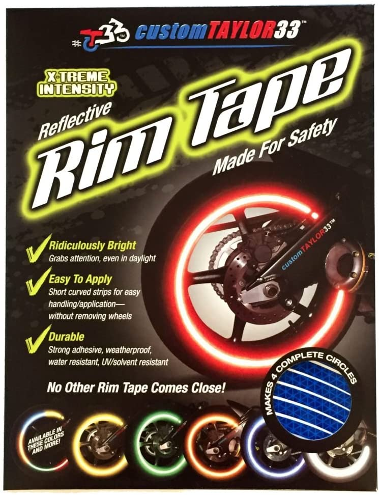 All Vehicles Blue High Intensity Grade Reflective Copyrighted Safety Rim Tapes 15//19 customTAYLOR33 Must Select Your Rim Size Combination Rim Size