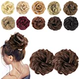 MORICA 2PCS Messy Bun Hair Scrunchies Messy Bun Hair Piece for Women Curly Wavy Scrunchy Updo Bun Extensions