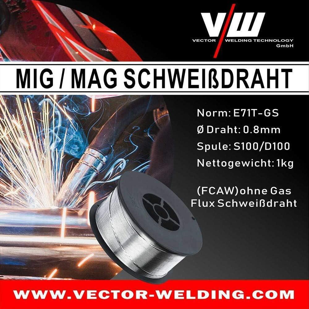 Schwei/ßdraht F/ülldraht Draht f/ür MIG MAG Schwei/ßger/äte NoGas D100 Rolle von Vector Welding 1 kg /Ø 0,8 mm E71T-GS