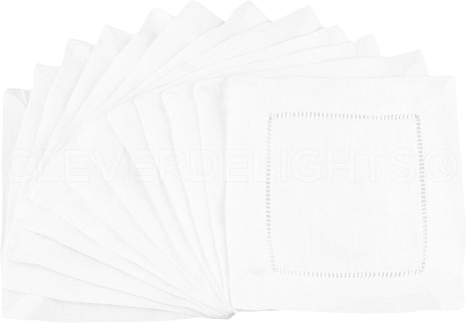 "12 CleverDelights White 100% Cotton Hemstitch Cocktail Napkins - 6"" x 6"" Ladder Hemstitch Cloth Beverage Napkins - 100% Cotton 6 Inch Coaster"