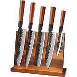 Magnetic Knife Block by Findking-Teak Wood Knife Stand Kitchen Knives Set Holder Storage Organizer(Knives not included)