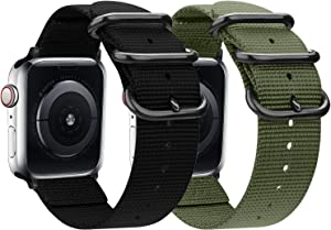 nylon Band Compatible with Apple Watch Band 44mm 42mm 40mm 38mm, Lightweight Breathable Woven Nylon Sport Wrist Strap with Metal Buckle Compatible 5/4/3/2/1