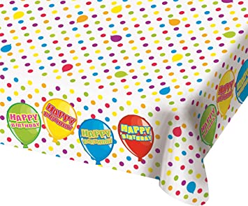 Cama24com Tischdecke Happy Birthday Luftballons Design Geburtstag