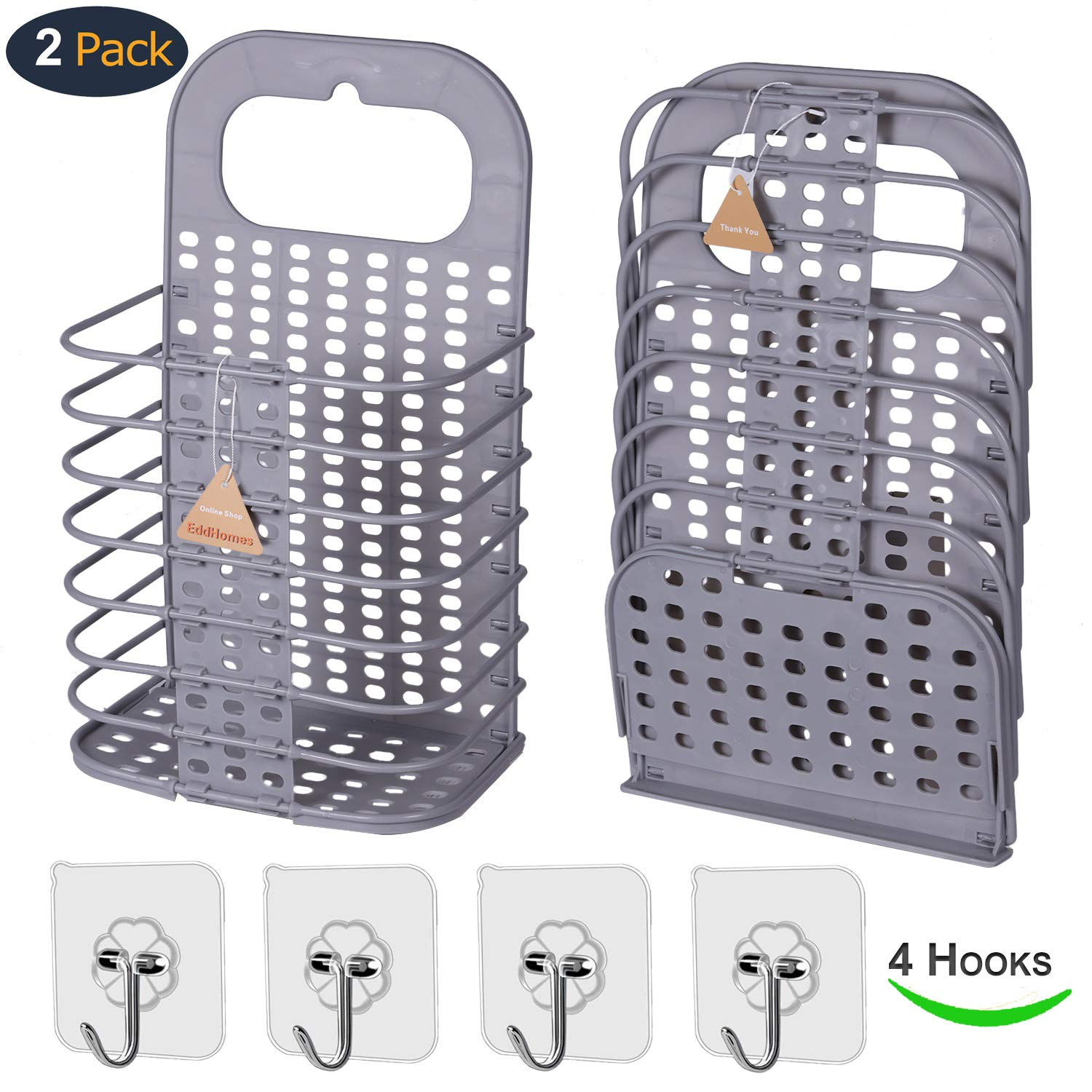 EddHomes Laundry Basket Collapsible Small Dirty Laundry Hamper Basket, Hanging Laundry Basket with Handle Plastic Collaspable Tall Laundry Basket Storage for College Dorm Women 2 Laundry Basket Gray by EddHomes