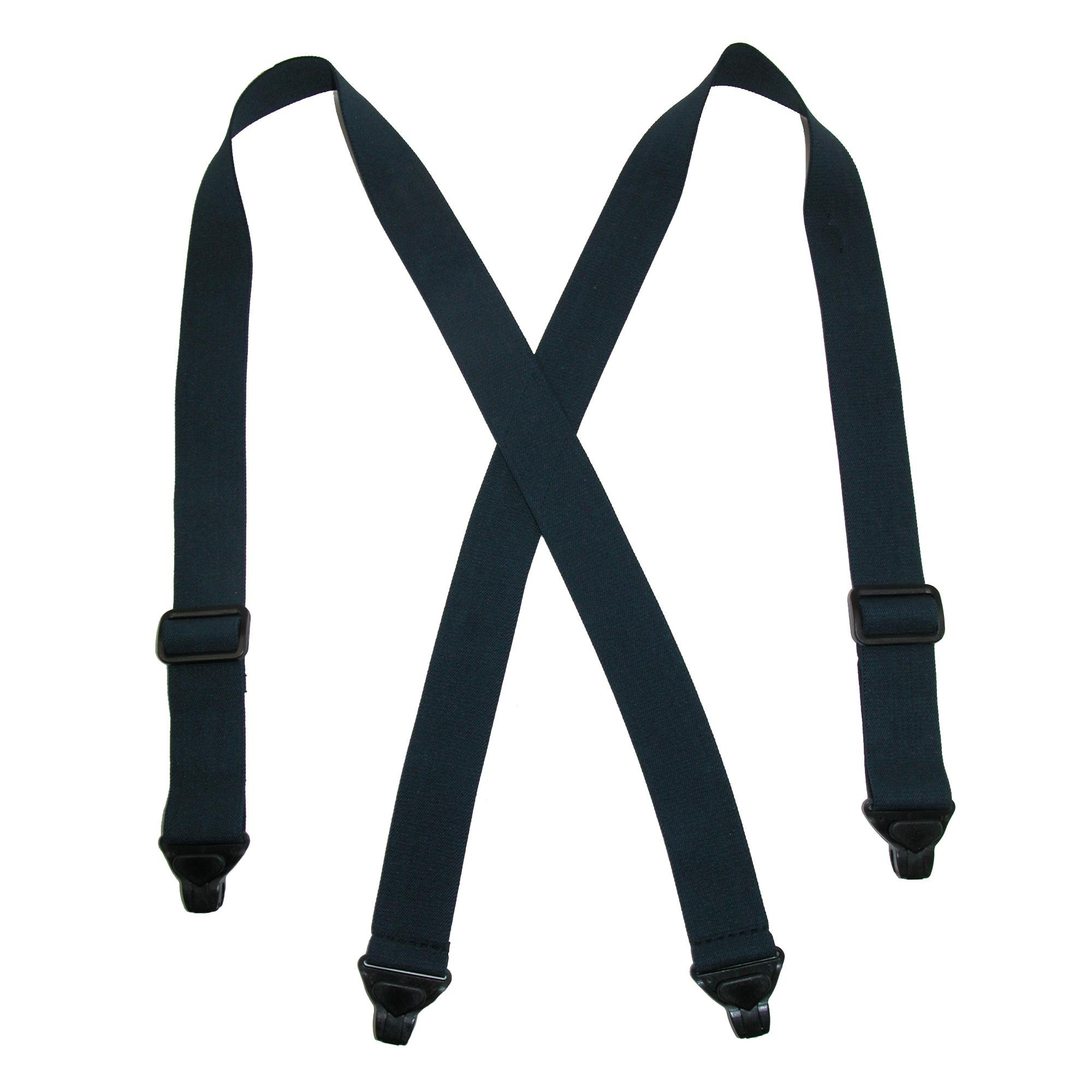 CTM Men's Elastic Plastic Clip-End TSA Compliant Airport Suspenders, Navy