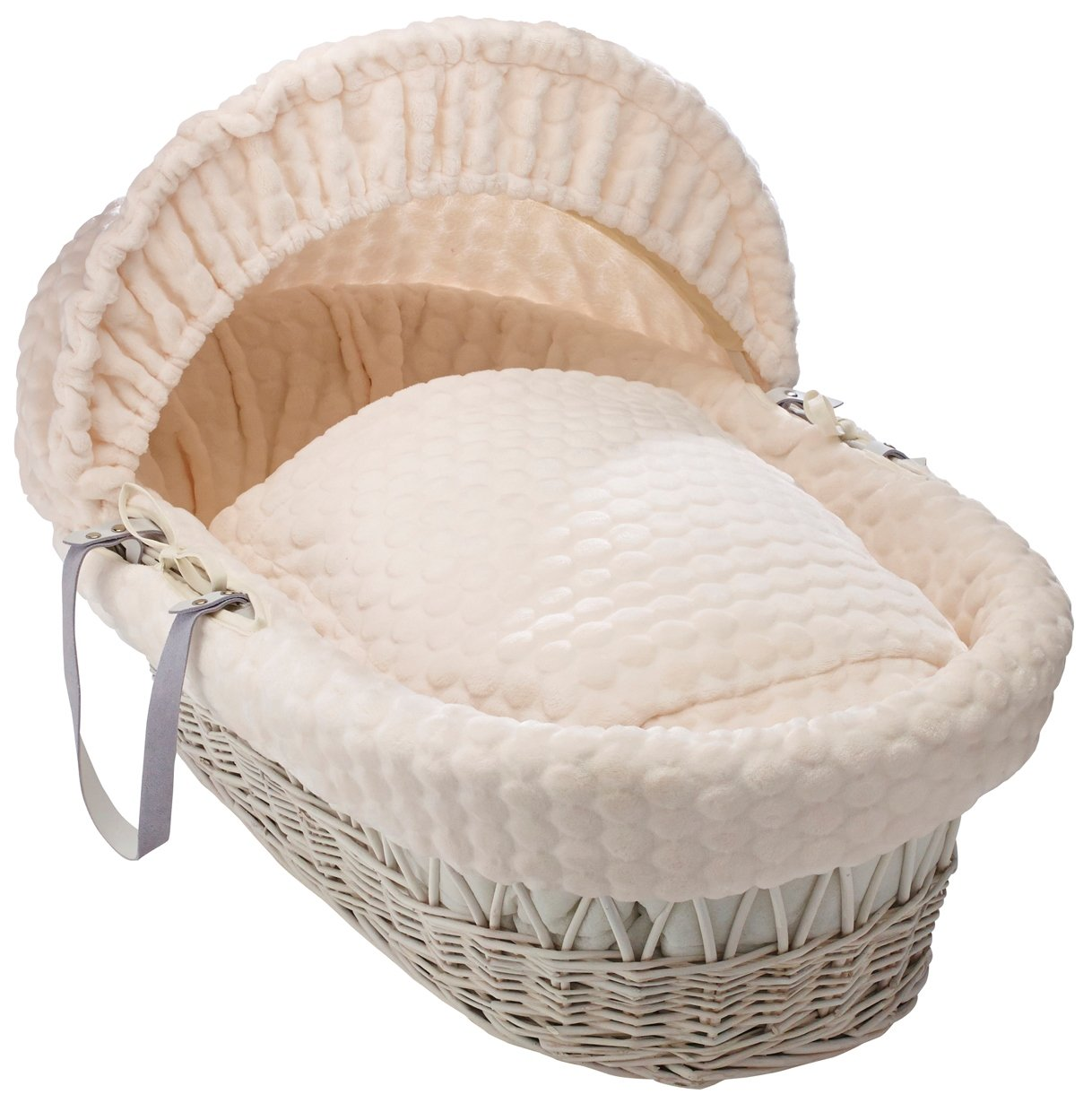 Clair de Lune Marshmallow White Wicker Moses Basket inc. bedding, mattress & adjustable hood (Cream) CL5172WC
