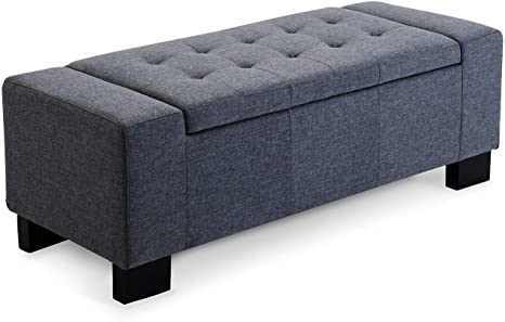 Amazon Com 50 Elegant Gray Linen Fabric Tufted Modern Storage Bench For Bedroom End Of Bed Living Room Flip Top Ottoman Foot Rest Hallway Entryway Shoe Benches Home Accent Furniture Kitchen Dining