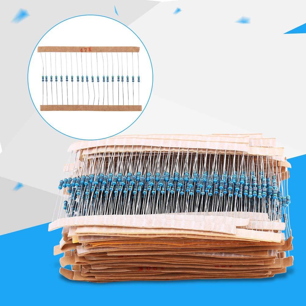 Zerone 1280 Unids 1 / 4W 64 Valores 1-10M Ohm Película De Metal Surtido De Resistencias Surtido De Componentes Conjunto De Kit Para DIY Y Experimentos: ...