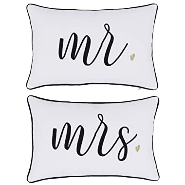 DecorHouzz Pillowcase Hubby Wifey Embroidered Pillow cover for Couple Wedding Anniversary Gift (12 x18 , Mr Mrs)