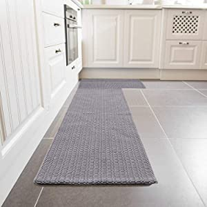 Cotton Area Rug Set 2 Piece 2'x3'+2'x4.3', KIMODE Woven Throw Rugs Welcome Door Mat Machine Washable Floor Runner Rug for Porch Kitchen Bathroom Laundry Living Room (2'x3'+2'x4.3', Dark Gray)
