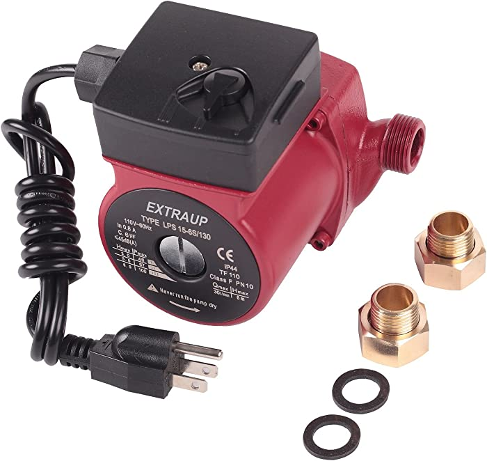 EXTRAUP 3/4 NPT 110V Hot Water 3-Speed Cast Iron Circulation Pump Circulator Pump