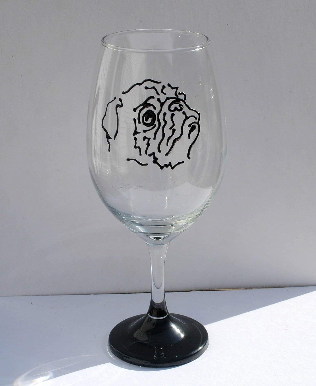 Amazon Com Pug Dog Hand Painted 20 Ounce Stemmed Wine Glass Handmade