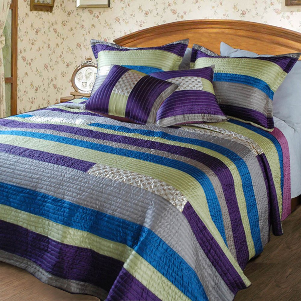 Stripe Satiny Polyester Patchwork 3-Piece Quilt Set, Twin, Purple