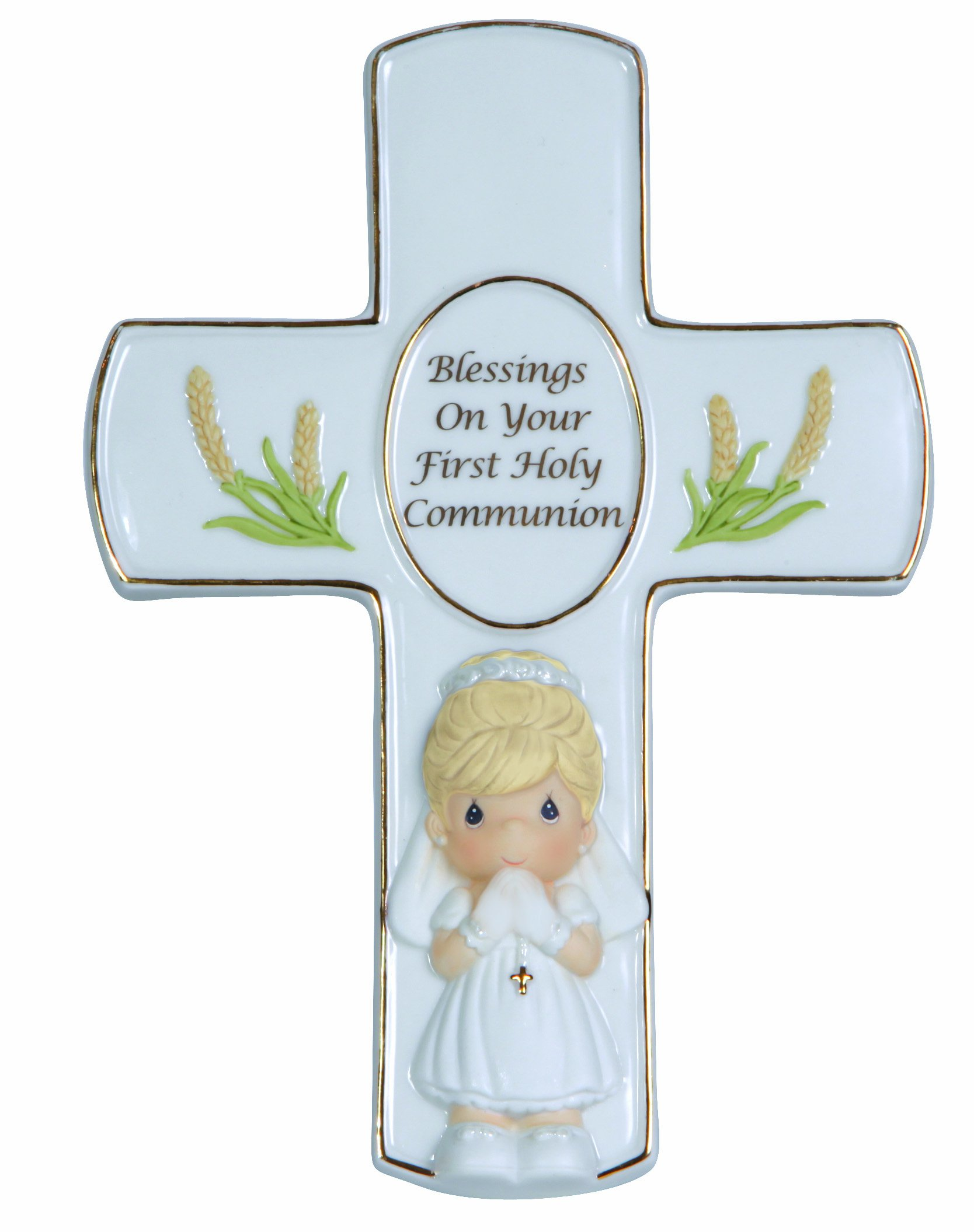 Precious Moments, Blessings On Your First Holy Communion, Bisque Porcelain Cross With Stand, Girl, 123408