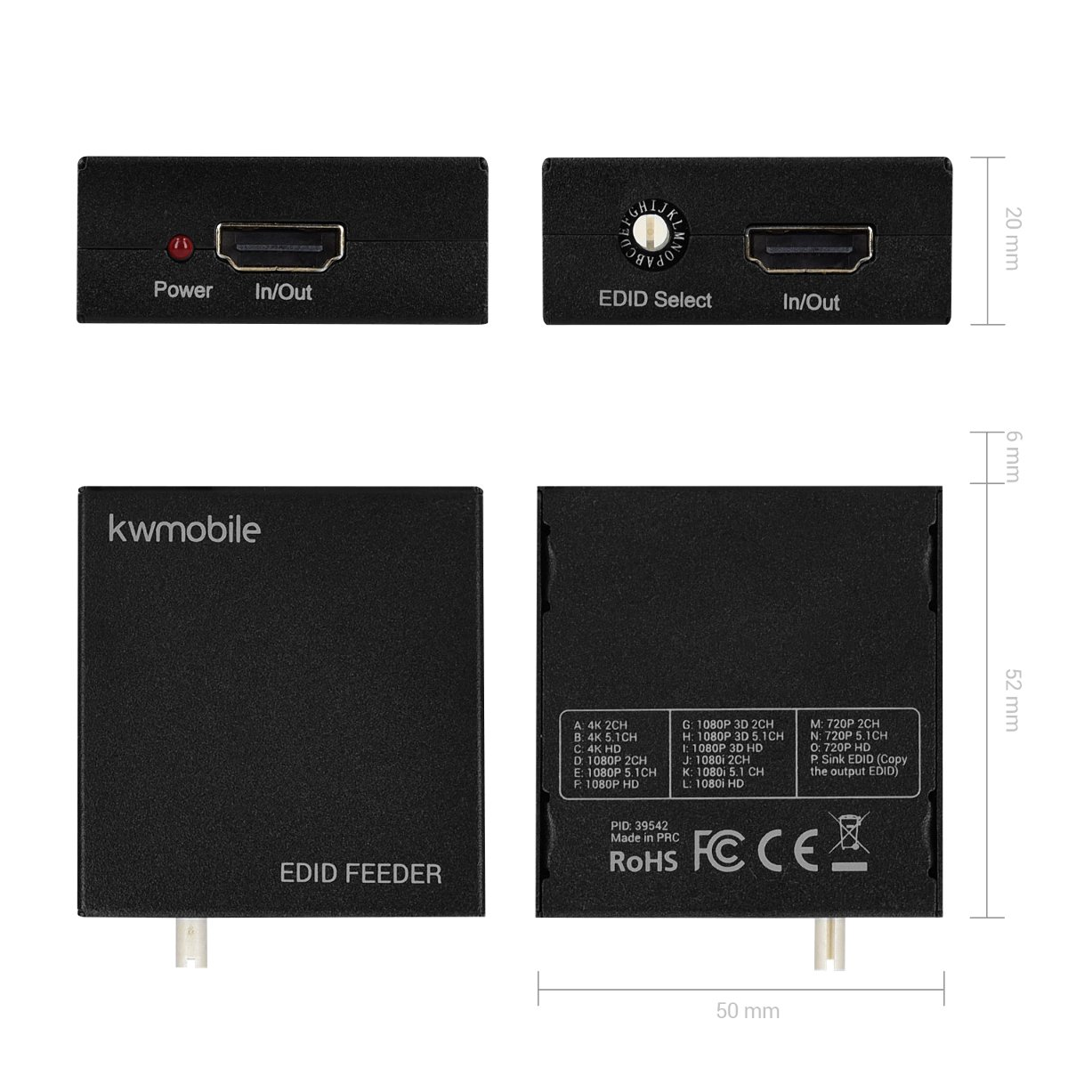 distribuzione segnali audio video tra dispositivi HDMI emulatore EDID regolabile manualmente kwmobile HDMI EDID Feeder Manager