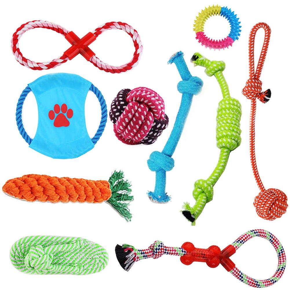 Corde Jouets pour Chiens, lot de jouets pour chiens, idéal pour les petits et moyens chiens, jouets pour corde à mâcher durables, sûrs et sans toxines (10 articles) Western Business