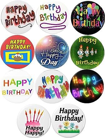 Amazon.com: Set 11 Feliz cumpleaños Pinback botones pines ...