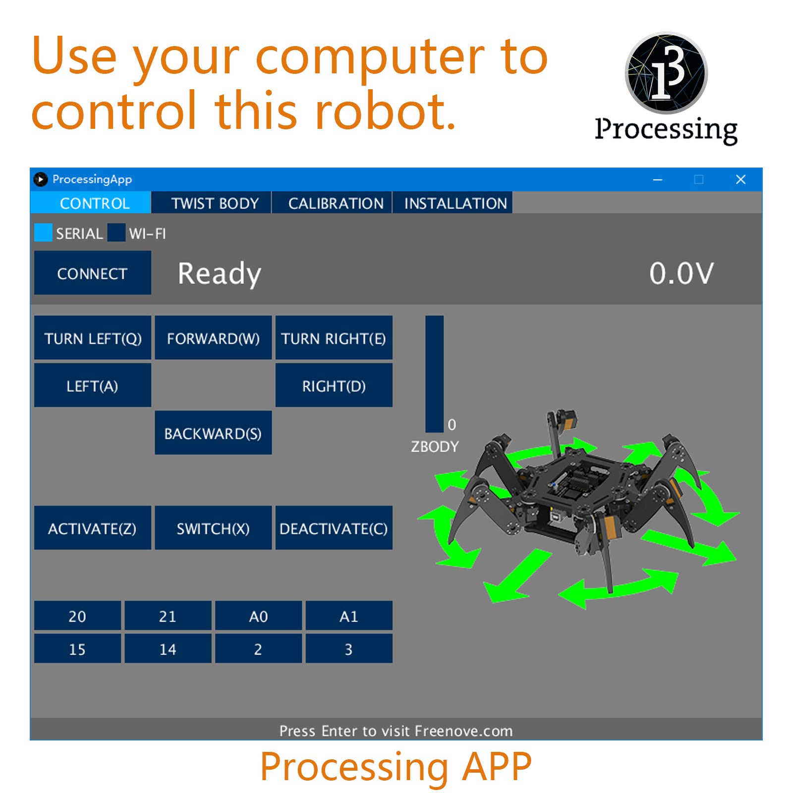Freenove Hexapod Robot Kit with Remote Control, Compatible with Arduino Raspberry Pi Processing, Spider Walking Crawling STEAM STEM Project by Freenove (Image #4)