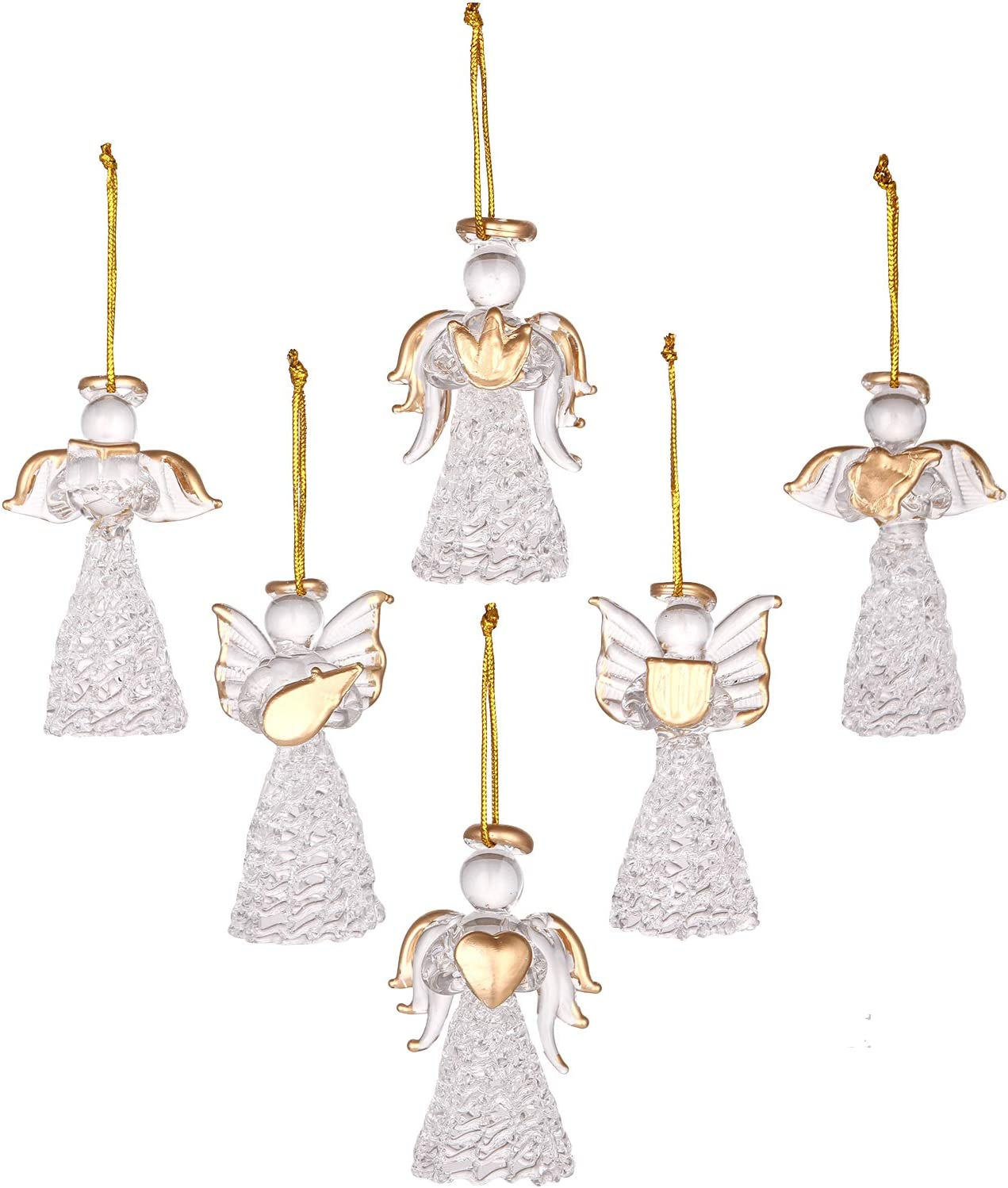 3 Clear Glass Traditional Angel Christmas Bauble Ornaments