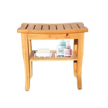 Outstanding Sunvivi Outdoor Bamboo Shower Stool Bench With Storage Shelf Wooden Spa Bath Bench Seat Stool Waterproof Shower Chair 19 L X 10 W X 18 H Shower Theyellowbook Wood Chair Design Ideas Theyellowbookinfo
