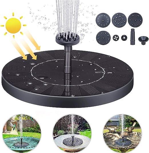 Bomba de Agua Solar, 1.4W Bomba de Fuente Solar Bomba Agua Sumergible Solar Bomba Sumergible Kit, Solar Bomba con Panel Solar Flotante y 4 Boquillas para Piscina, Estanque, Decoración de Jardín: Amazon.es: