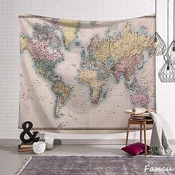 Fansu Tapiz de Pared Grande Mapa del Mundo Rectangular, artistico tapices Colgante hogar decoración Sala de Estar diseño psicodélico póster (L-200 * 150CM,Rosa): Amazon.es: Hogar