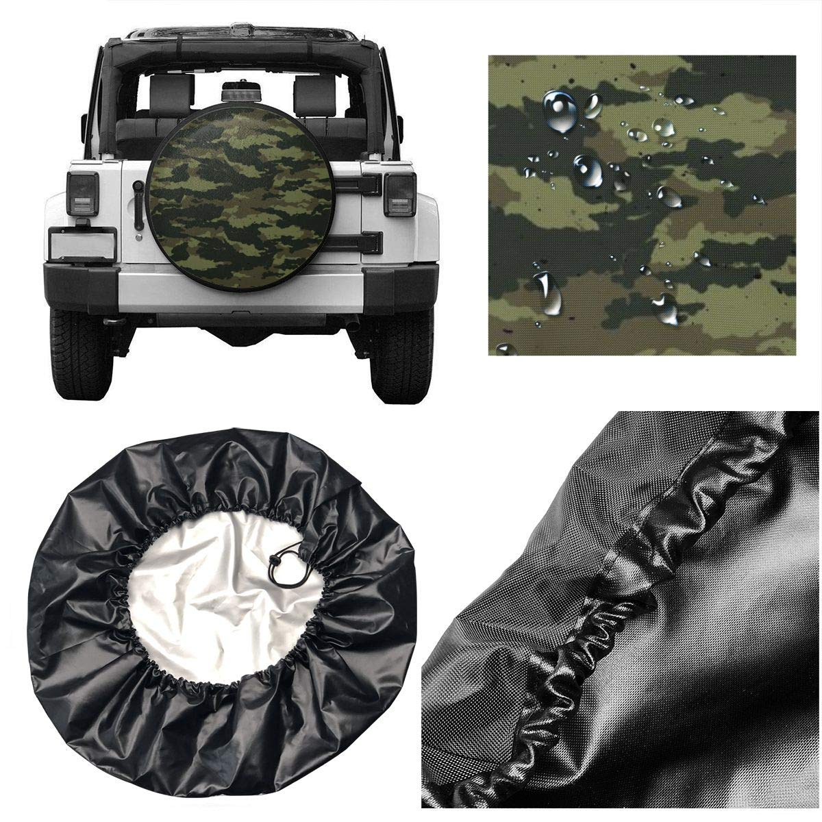 Custom Spare Tire Covers Add Your Own Personalized Text Name Message Image Waterproof Dust-Proof Universal Wheel Tire Protectors Fits Tire for Jeep Trailer RV SUV and Many Vehicle