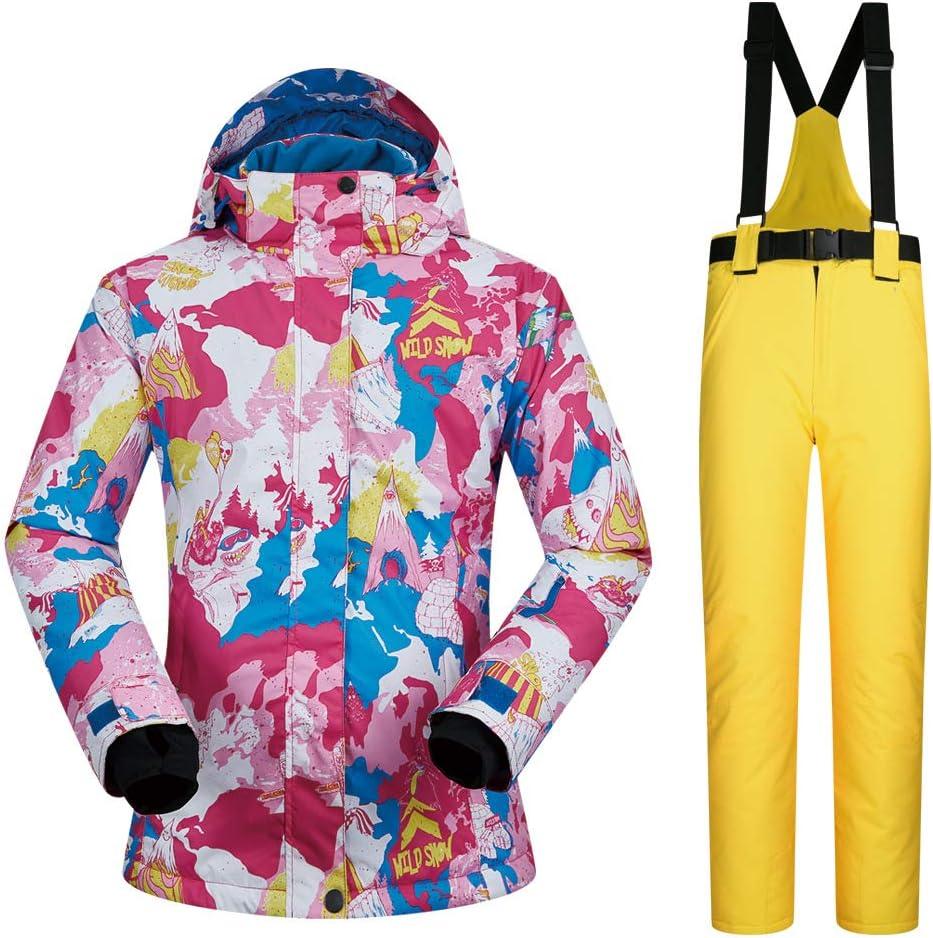 Giow Donna Sport Outdoor Giacca, Antivento Caldo Sci Tuta Impermeabile Giacca da Neve Traspirante Indossare Abbigliamento Invernale per Lo Sci Escursionismo Alpinismo Viaggio 3