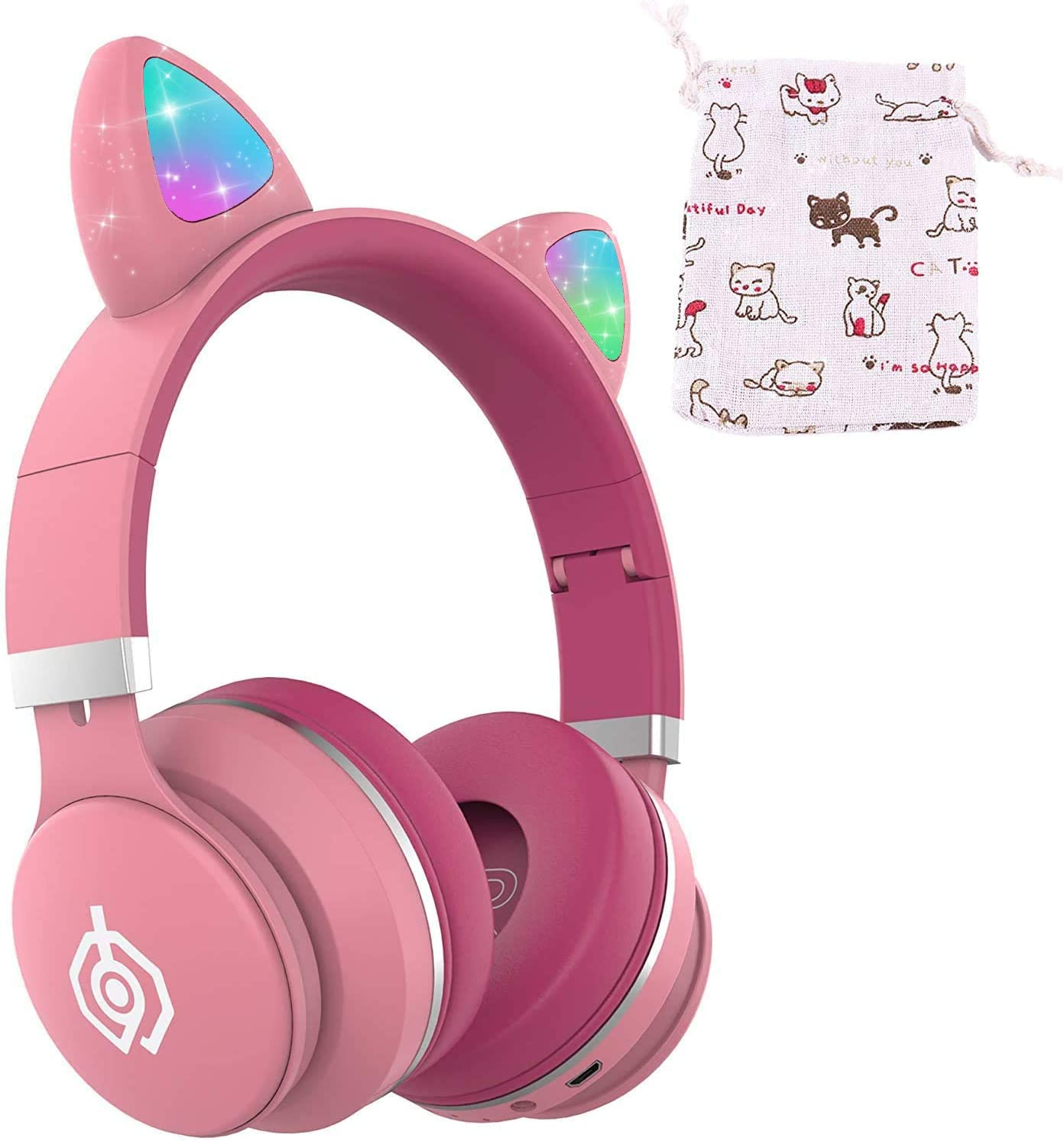 Kids Bluetooth Headphones, ONXE Cat Ear LED Light Up Wireless Foldable Headphones Over Ear with Microphone and Volume Control for iPhone/iPad/Smartphones/Laptop/PC/TV (Pink)