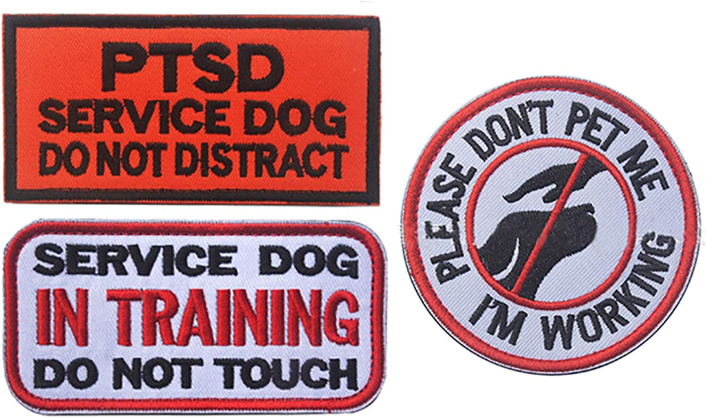 3 Pcs Service Dog Morale Badge Embroidereed Dog Patches Working in Training Do Not Touch Hound Travel Hiking Backpack Saddlebags//Morale Service Dog Patches for Pet Tactical Harness Vest DBG1-3P-1