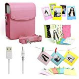 5 in 1 Fujifilm Instax Share SP-1 Smartphone Printer Accessories Bundles (Included: Pink Instant Film Printer SP-1 Case/ USB Power Cable/ Wall Hang Frames/ 3 inch Film Frame/ Mini Film Stickers)