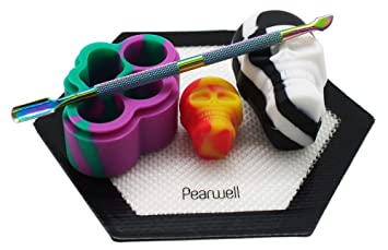 Pearwell Food Grade Silicone Wax Oil Kit (Pack of 5), 1 Black Hexagon Mat +  1 Carving Tool + 3 Non-stick Silicone Containers (3ml 15ml 22ml) Platinum